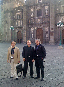 "Lawrence Krauss, Me and Steve Pinker — ""the three amigos"" — in front of the Puebla Cathedral"