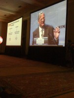 Neuroeconomist Kevin McCabe on the big screen in Santiago, Chile