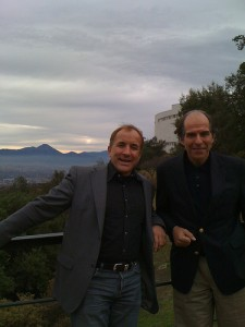 Alvaro Fischer and that Skeptic dude, high above Santiago, Chile
