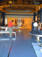 The 8.2 meter mirror is wheeled into this room beneath that orange structure in order to have it re-aluminized.
