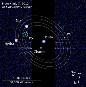 Pluto and its moons, July 2012