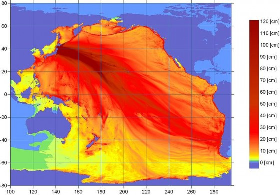 Spread of the tsunami energy across the Pacific
