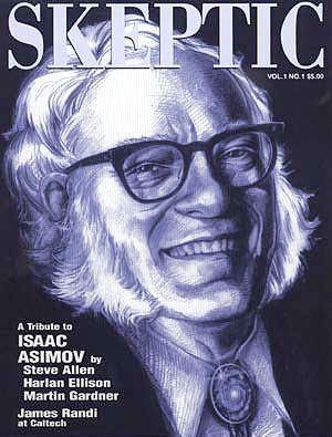 Isaac Asimov on the cover of Skeptic magazine