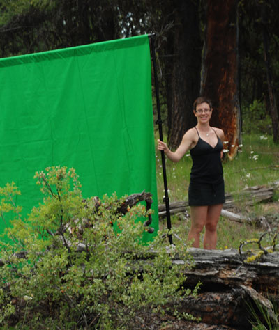 Photographic assistant (and long-suffering spouse) Cheryl Hebert on location in BC in 2010