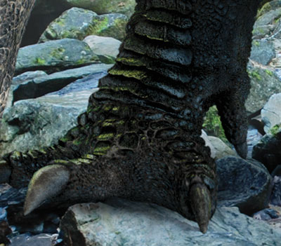Detail from Ankylosaur Attack, showing reflections on scales of dinosaur