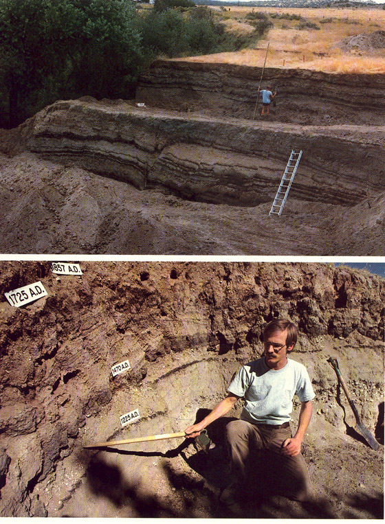 (Top) Image of Pallett Creek trenches when they were first dug. (Bottom) Kerry Sieh demonstrating the offset in the black layers datable by radiocarbon; the labels give the radiocarbon ages.