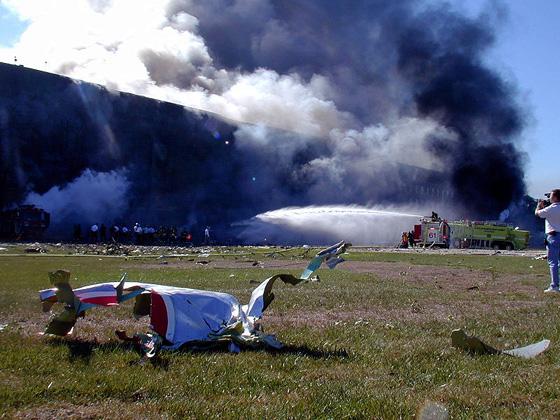 Flight 77 wreckage at Pentagon