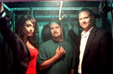 L to R Shira Lazar, Ryan Johnson & Brian Dunning in a creepy Meat Locker for Truth Hurts Web Series.