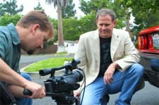 """Ryan Johnson and Brian Dunning. Shooting the """"Exhaust Note Scene"""" with a Ferrari Mondial"""