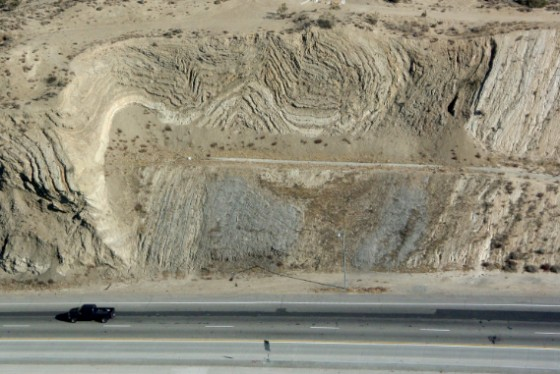 Tight folding, like a crumpled rug, of the 2 m.y. old beds just north of the San Andreas fault