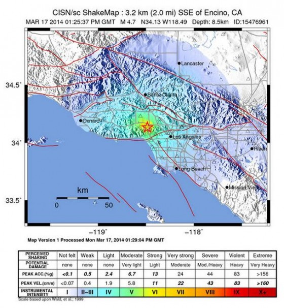 Shaking intensity map of the March 17, 2014, Sherman Oaks quake