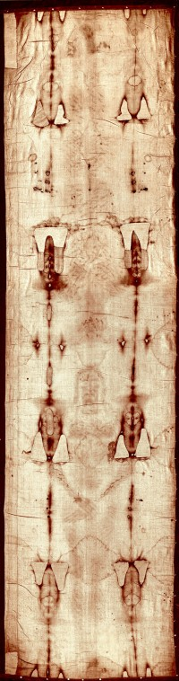 Full-length photograph of the Shroud of Turin