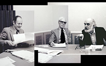 A c.1979 meeting among some of the founders of modern skepticism: Paul Kurtz (left), Martin Gardner (center) and James Randi. Photographs by Robert Sheaffer (used with permission)