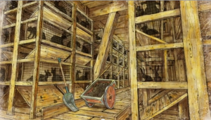 Artist's conception of the stalls and cages inside the ark, all with hard wooden surfaces that would absorb feces and urine, and hurt animals who cannot stand on hard surfaces too long without health issues.