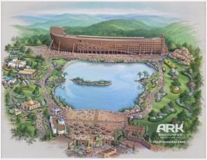 "The grandiose ""artist's conception"" of the Ark Encounter. Already, many of these elements have been canceled due to problems in fundraising"