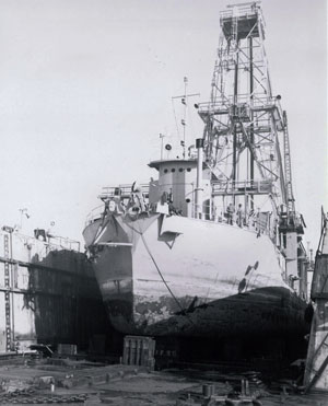 "The ""CUSS-1"" ship, the first ocean drilling vessel, and the prototype for the Glomar Challenger"
