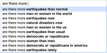 "Google autofill reveals concern about ""rising"" number of earthquakes"