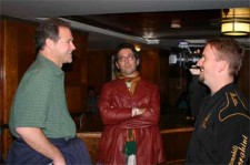 Brian Dunning, David Vienna and Ryan Johnson, Preparing to hunt for ghosts aboard the Queen Mary