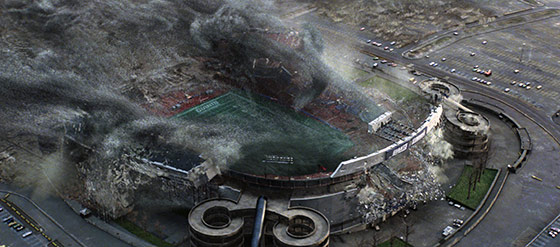 A massive and seemingly unstoppable alien force destroys a stadium in seconds (photo credit: WETA <br /> copyright 2008 Twentieth Century Fox Film Corporation