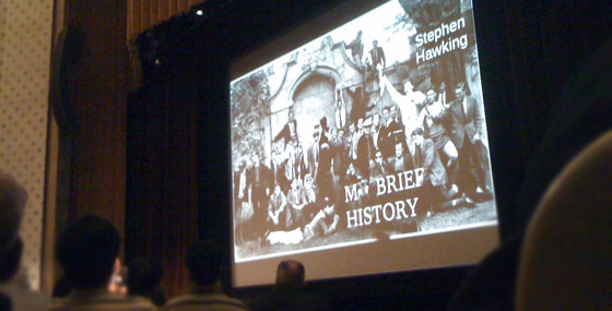 title slide from Stephen Hawking's My Brief History lecture at Caltech
