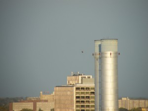 Unidentified flying object near smoke stack